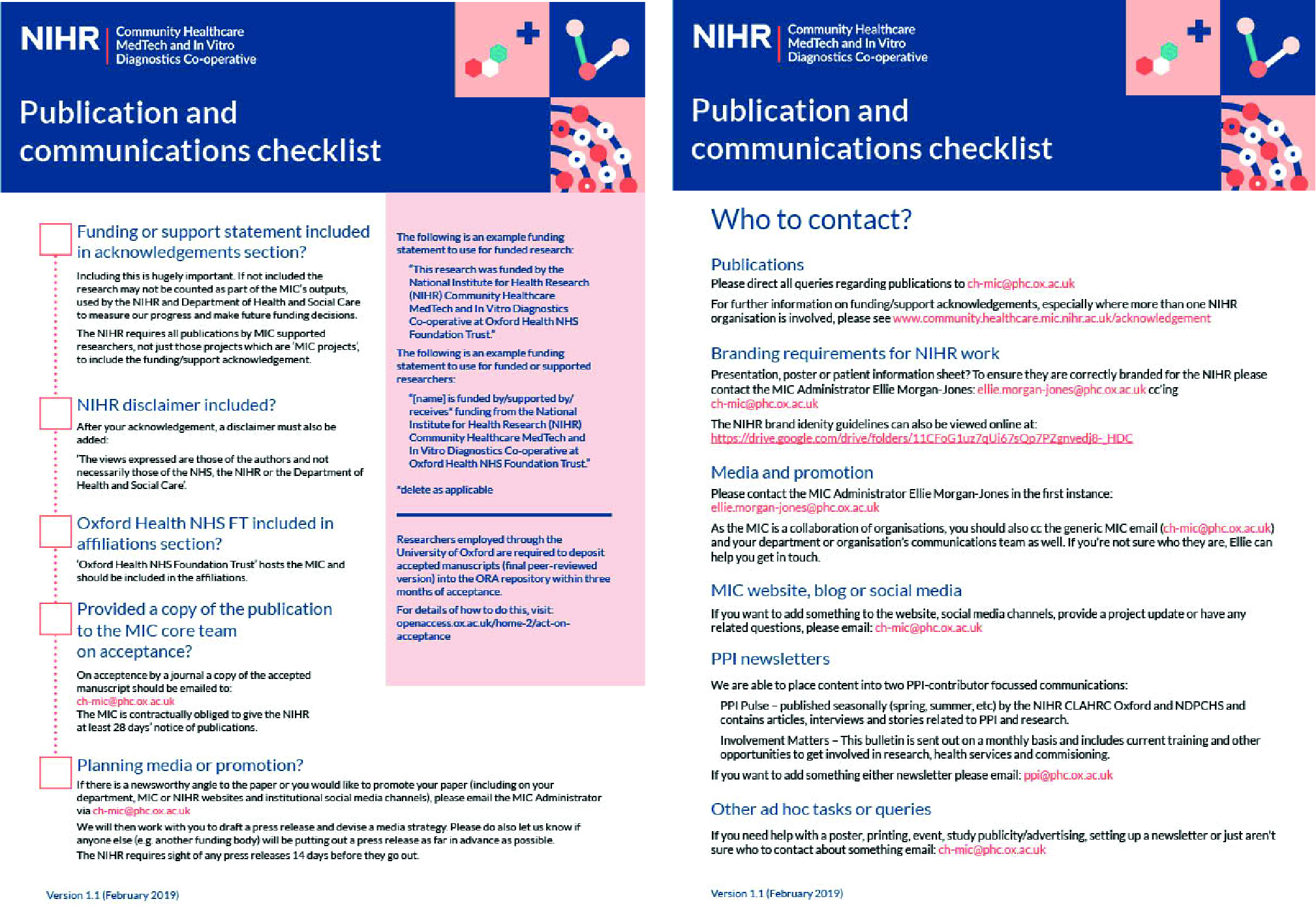 MIC Publications Checklist